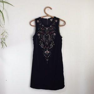 Urban Outfitters Beaded Black Velvet Ecote Dress